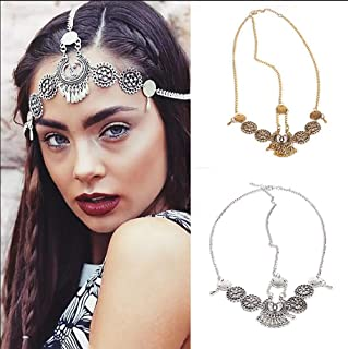 Chargances Fashion Women Hot Bohe Halloween Charm Head Chain Vintage Metal Drop Headpiece Headband Girl Hair Accessories (gold)