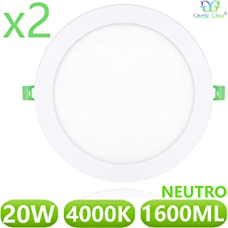 Downlight LED Extraplano 20W 1600LM Redondo GNETIC GLASS 4000K Color Blanco Neutro Angulo 120º Ø220 mm x 10 mm Opal Aluminio 30000h Equivalente a 200W [Eficiencia energética A+] Pack x2 Unidades