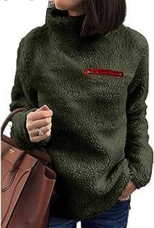 CCOOfhhc Sherpa Pullover Sweaters for Women Turtleneck Winter Warm Fuzzy Sweatshirts Zipper Plain Ladies Outwear