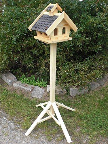 Vogelhaus mit Ständer-(V15+S1)XL Schwarz- Vogelhäuser Vogelfutterhaus Vogelhäuschen-aus Holz- Schreinerarbeit-