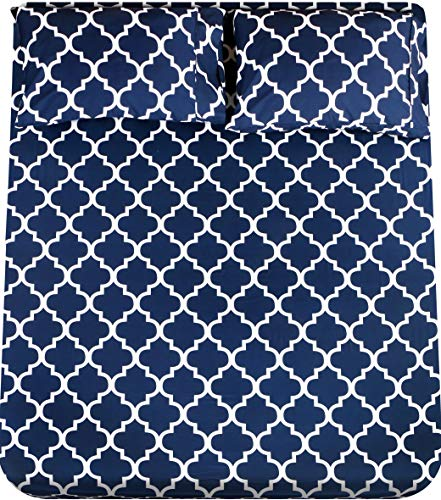 Utopia Bedding Printed Bed Sheet Set - 1 Fitted Sheet, 1 Flat Sheet and 2 Pillowcases - Soft Brushed Microfiber Fabric - Shrinkage and Fade Resistant (Queen, Navy Quatrefoil with White Pattern)