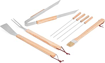 Internet's Best 8-Piece BBQ Grilling Utensil Set | Long Wooden Handle Spatula, Barbeque Fork, Basting Brush, 4 Kabob Skewers and Serrated Tong Meat Grabbers | Smoker Charcoal Gas