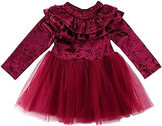 Little Girls Long Sleeve Ruffle Trim Velvet Tutu Dress Holiday Christmas Party Dresses