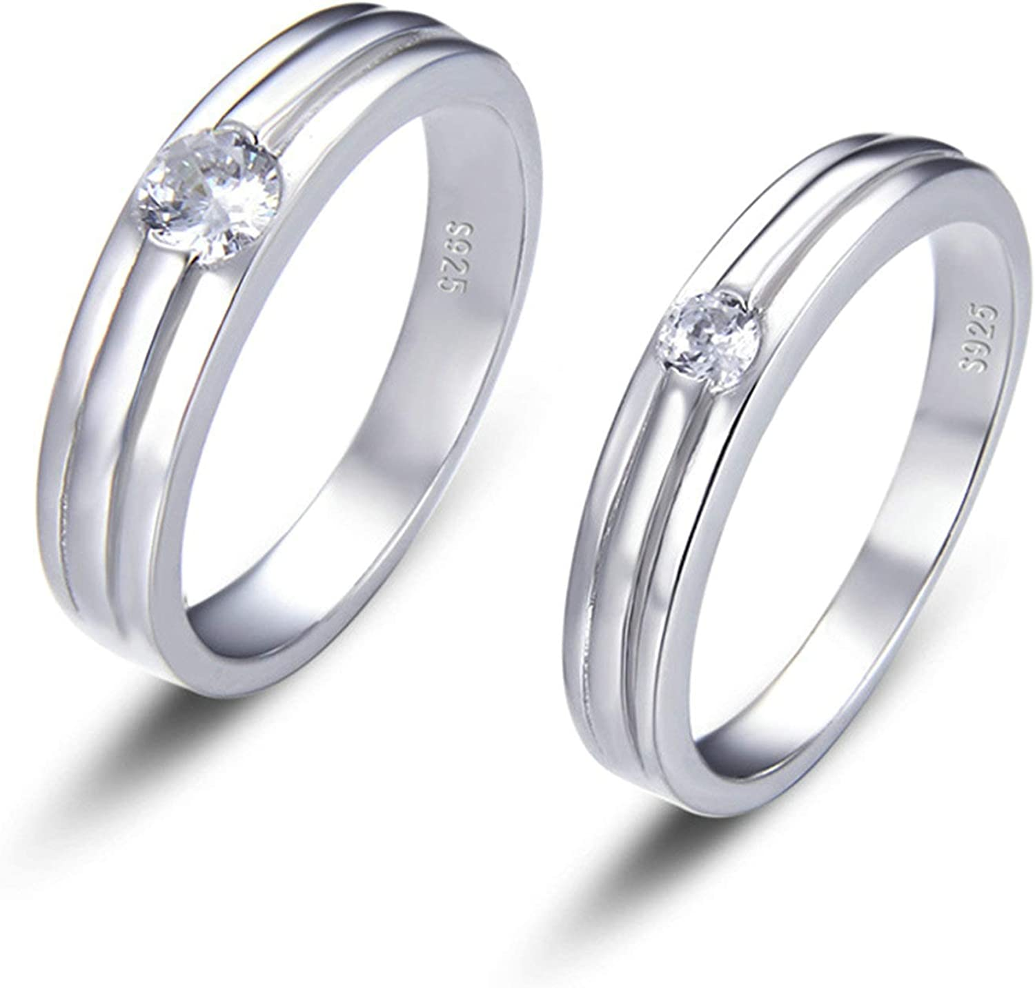 Ranking TOP19 KnBoB His and Hers Matching Couple Silver Set Ranking TOP13 Zirconi Ring Cubic