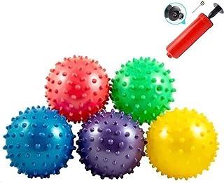 "LoveInUSA Bounce Ball, 12 PCS Edushape Sensory Balls Knobby Party Balls Massage Balls with Air Pump Set 4.72"""