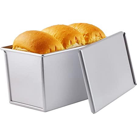 Chris.W Pullman Loaf Pan with Lip 750g 0.99Lb Dough Capacity Non-Stick Rectangle Flat Toast Box for Oven Baking