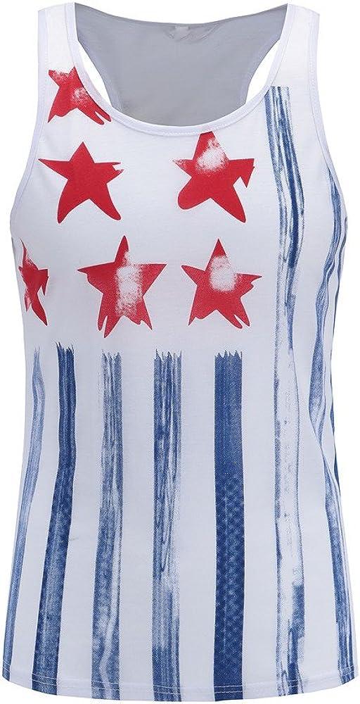 Gergeos Summer Men American Flag Print Sleeveless Casual Tank Tops Sport Workout Shirt