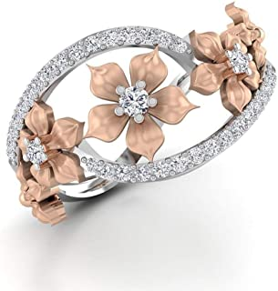 Siam panva Fabulous 925 Silver Floral Ring Two Tone Rose Gold Flower Jewelry Sz 6-10 (US Code 6)
