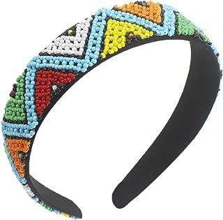 NAKALAKA Women's Bohemia Ethnic Beaded Headband, Multicolor Handmade Hair Hoops (Light Blue Beads)