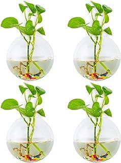 Jardineras De Vidrio Para Colgar En La Pared 4Pcs Forma Esférica Macetas De Plantas Terrario Contenedor Florero Con 4.24 O...