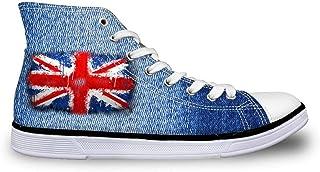 Flag Design Hi High Top Canvas Plimsolls Trainers Womens Lace Up Pumps Shoes