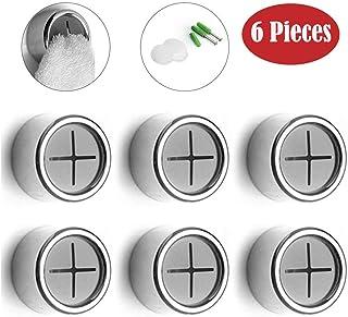 BangShou Gancho de Pared de 6 Piezas Ganchos para Toallas Colgadores para Toallas Creativo Pomo de Cajón, Anticolisión Toalleros de Ganchos Adhesivos para Cocina Baño (Plata)