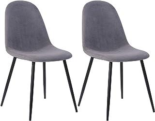 Mueble Cosy – Juego de 2 sillas de Comedor escandinava, Silla de Cocina con un Revestimiento de Tela Gris, Patas de Metal imitación de Madera, gris/42,5 x 54,5 x 86 cm, 2 Unidades