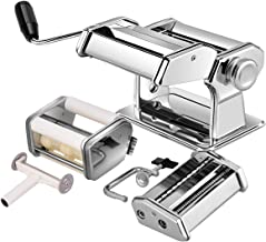Costzon Pasta Maker Machine, 5 In 1 Stainless Steel Construction, 9 Adjustable Thickness Settings, 150 Roller with Pasta Cutter, Spaghetti Maker with Hand Crank, Clamp