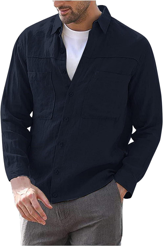 FORUU Men's Lightweight Shirt Jackets,2021 Fall Fashion Casual Button Down Shirts Solid Lapel Pocket Long Sleeve Shirts