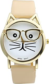 Top Plaza Fashion Women's Platinum Plated Mini Cat Glasses Analog Quartz Watch, PU Leather Strap Gold Tone - Beige Brown