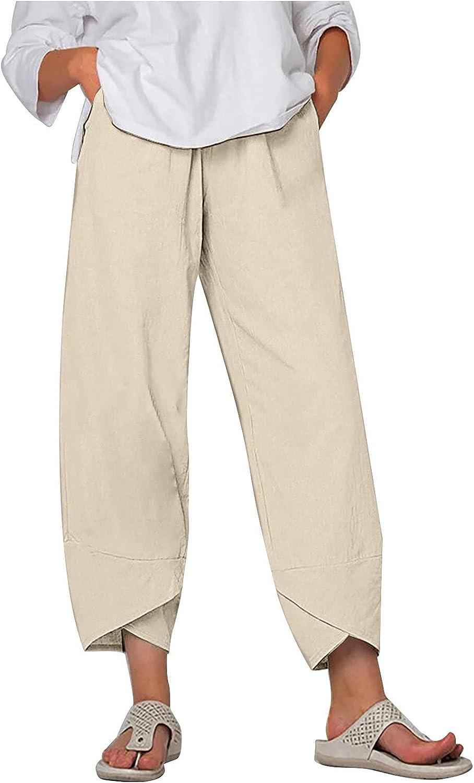 Liu Nian Womens Max 66% OFF Plus Size Capri High Casual Waist trend rank Solid Pants Wi