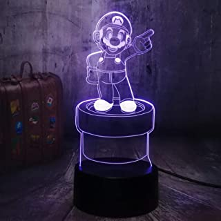 Luces De Noche 3D Lámpara De Mesa LED Juego De Personajes De Acción Super Mario Bros. Multicolor 7 Colores Decoración Decoración De Fiesta Regalos Para Niños Juguetes Para Niños