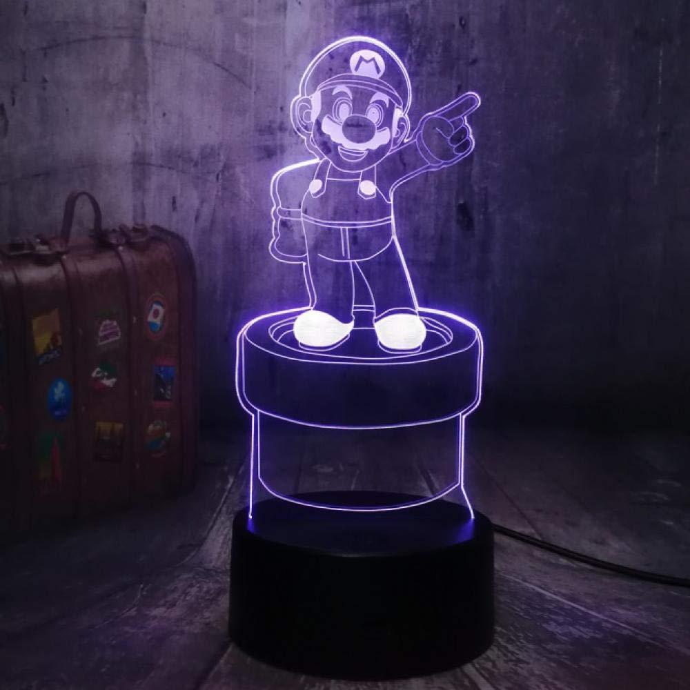 Luces De Noche 3D Lámpara De Mesa LED Juego De Personajes De Acción Super Mario Bros. Multicolor 7 Colores Decoración Decoración De Fiesta Regalos Para Niños Juguetes Para Niños: Amazon.es: Iluminación
