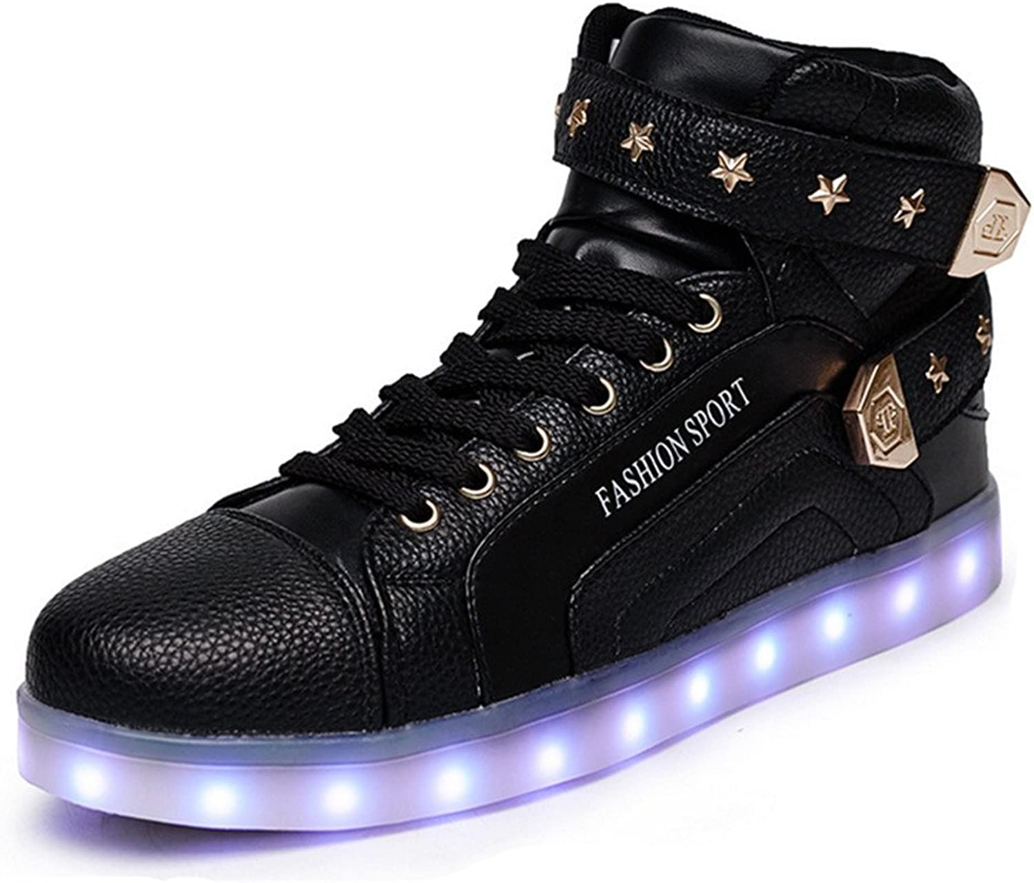 Edv0d2v266 High Help Soft shoes Soft and Comfortable Button shoes Casual shoes LED Light shoes shoes