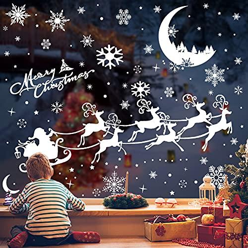 AcnA Adesivi Natalizi per Finestre,Vetrofanie Natale decorazioni Natalizie Finestre Fiocchi di Neve Dcorativi PVC Vetrofanie Natale Finestre per Negozi Vetrina Soggiorno adesivi per finestre natalizie