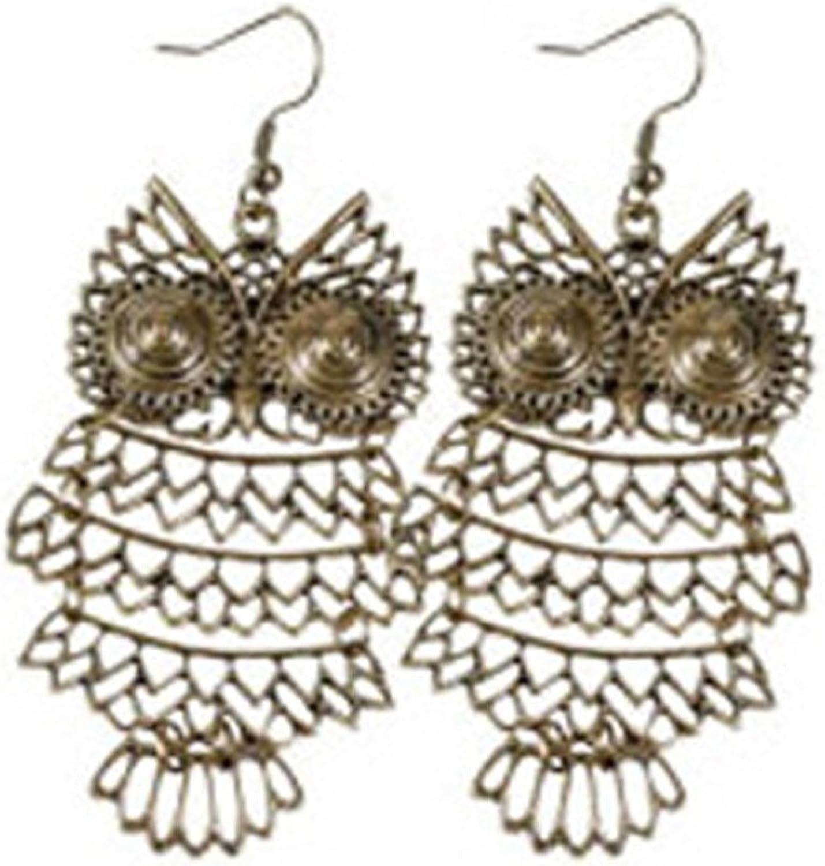 Brass Owl Earrings (style 5)