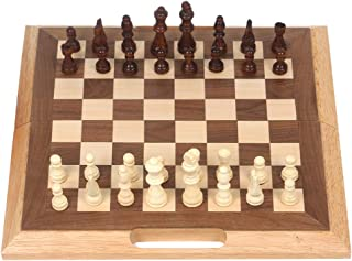 "16"" Folding Wooden Chess Set with Magnetic Handle Chess Game Board Educational Toys for Kids and Adults Easy Storage and Carry"