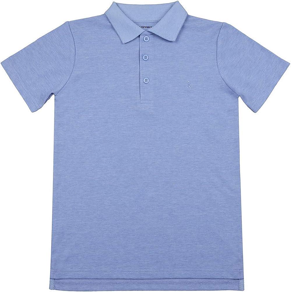 Boys Classic Short Sleeves Pique Polo Shirt (Blue, 14)