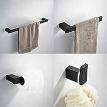 Kelelife Juego de Accesorios de baño Set, Incluyendo 24Pulgadas toallero de Barra, toallero, Gancho, Tejido portarrollos, Negro Pintura