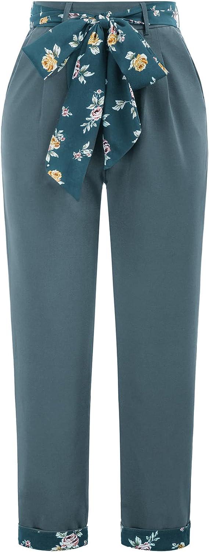 80s Jeans, Pants, Leggings | 90s Jeans GRACE KARIN Women Elastic High Waist Pull On Work Pants with Pocket Straight Leg Pants  AT vintagedancer.com