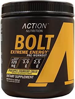 BOLT Extreme Energy Pre Workout Powder Pineapple Strawberry Cooler - Sugar Free Preworkout Energy Supplement for Men & Wom...