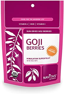 Navitas Naturals Organic Goji Berries, 8-Ounce Pouches, 8 Servings (Pack of 2)