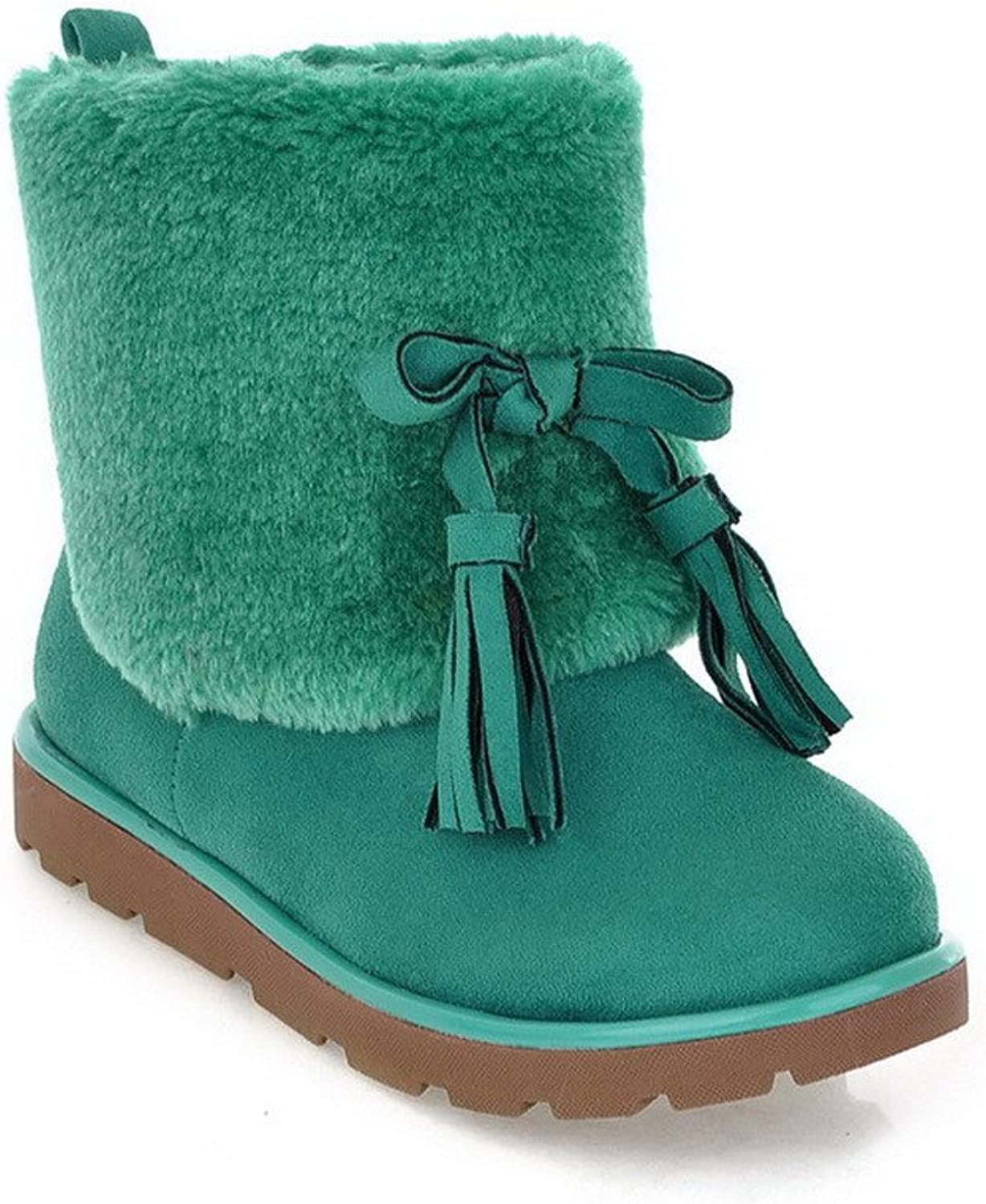 AmoonyFashion Womens Round Closed Toe Low Heels PU Frosted Short Plush Solid Boots with Tassels, Green, 7.5 B(M) US