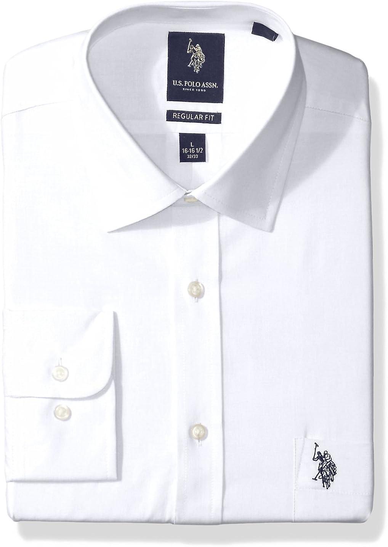 US Polo Assn. Men's Regular Fit Solid Semi Spread Collar Dress Shirt