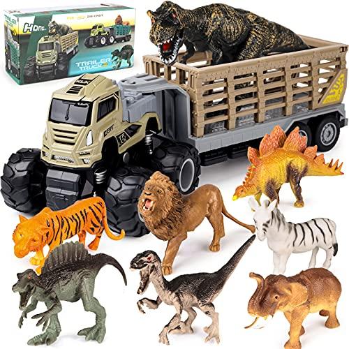 Tacobear Camión Grande Juguete Dinosaurios Juguetes Camión de Transporte con 8pcs Figuras Dinosaurio Animales Camión Juguete Dinosaurios para Niños Juego Dinosaurios Regalos para Niños de 3-8 Años