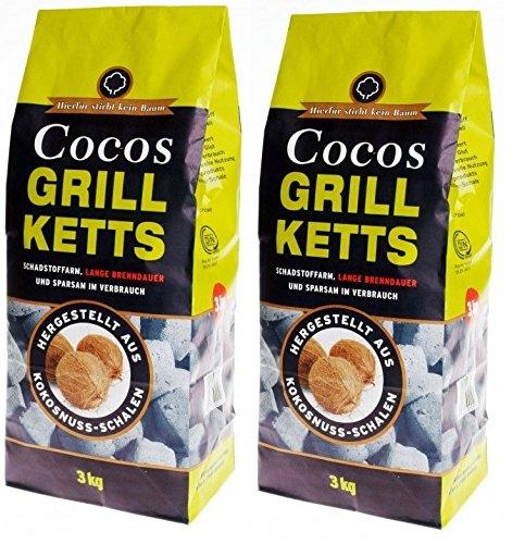 Holzkohlewerk Lüneburg 6kg Kokos Grillketts Premium Grillbriketts aus Kokos-Kohle