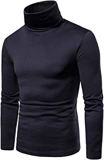 GRMO Men Big & Tall Long Sleeve Turtleneck Solid Thermal Fleece T-Shirt Tee