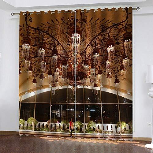 MXYHDZ Cortinas Opacas de Salon - Vista Nocturna de la Ciudad de araña de Lujo Impresión 3D, Dormitorio Aislantes Termicas con Ollaos - 200 x 160 cm para Oficina y salón, Dormitorio habitación de los
