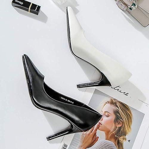 VIVIOO Chaussures d'été à Talons Hauts Hauts Femmes Escarpins à Bout Pointu Chaussures pour Les Les dames Contraste Couleur Noir Blanc Rouge Vert  branché