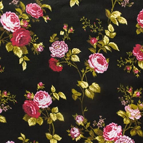vintage flowered cotton fabric 3 yards 34 inch wide