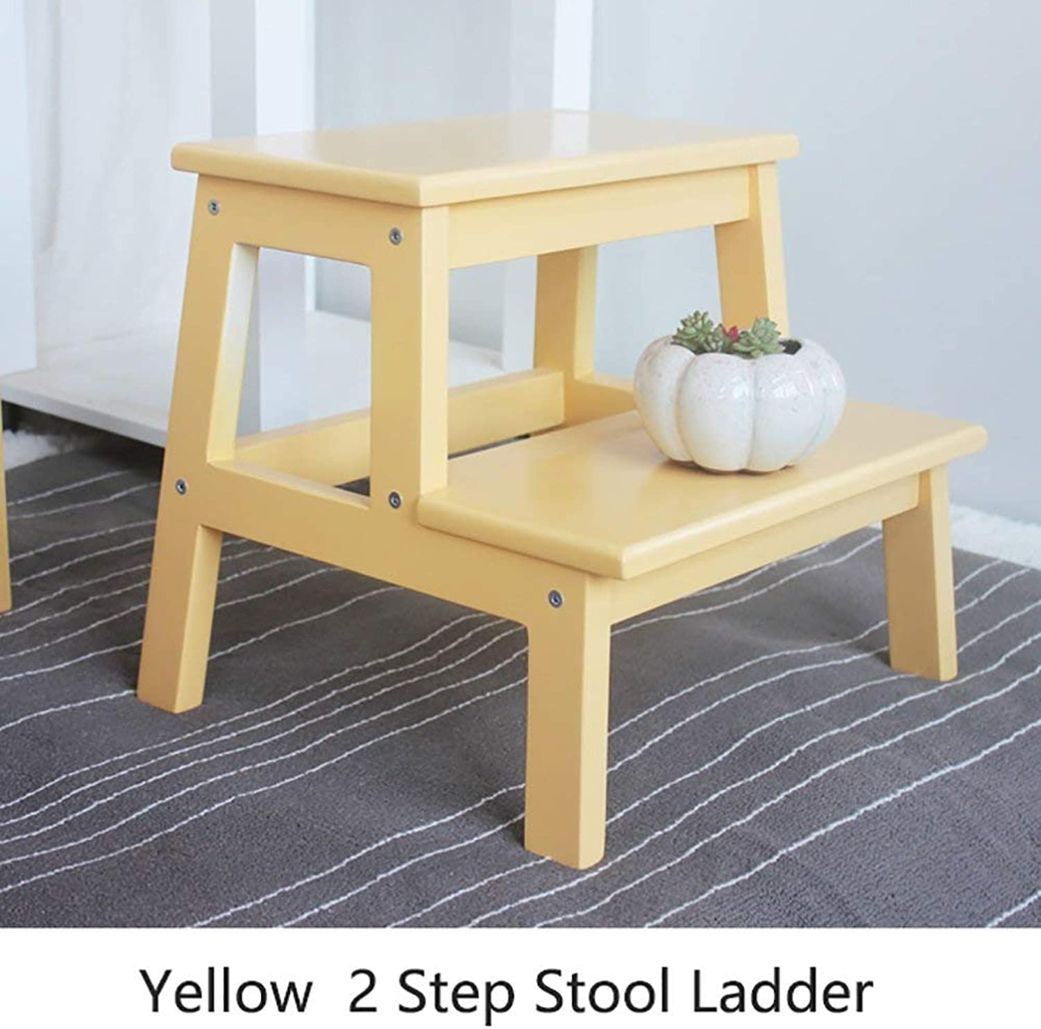 XITER Step stools Wood Small 2 Step Stool Ladder for Kids Indoor Kitchen Wooden Small Foot Stools Portable Flower Rack shoes Bench (color   Yellow)