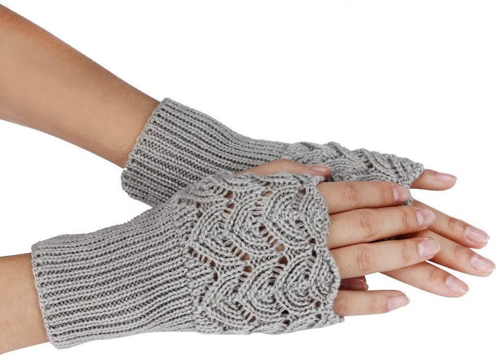 FASGION Women's Autumn Winter Gloves Warm Fingerless Sports Touch Screen Gloves Stretch Knit Mittens Half Fingerless Gloves 2019 (Color : Gray, Gloves Size : One Size)
