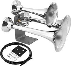 Vixen Horns Train Horn for Truck/Car. 3 Air Horn Chrome Plated Heavy Duty Trumpets. Super Loud dB. Fits 12v Vehicles Like Semi/Pickup/Jeep/RV/SUV VXH3318