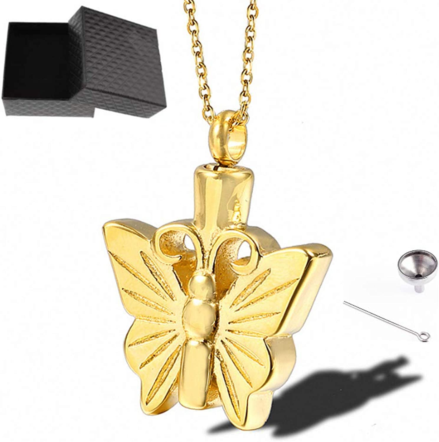 Cremation Jewelry Urn Pendant Pet Memorial Keepsake Butterfly Wings Openable Cat Dog Ashes Necklace