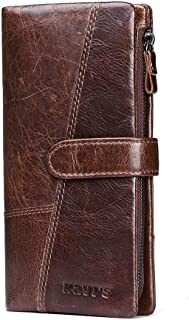 Leather Bag Mens 2018 Ladies' Leather Long Style European and American Style Fashionable Head Layer Cow-Leather Multi-Card Holding Bag Casual Moneybag High Capacity (Color : Brown, Size : S)