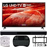 LG 86UM8070PUA 86' 4K HDR Smart LED IPS TV w/AI ThinQ 2019 Model with Home Theater 31' Soundbar, Wireless Backlit Keyboard, Flat Wall Mount Kit & SurgePro 6-Outlet Surge Adapter