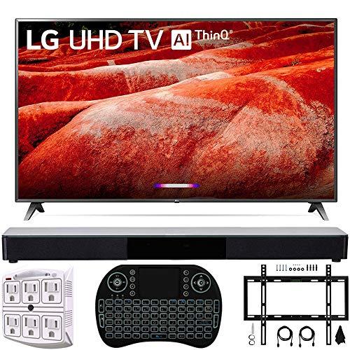 LG 82UM8070PUA 82' 4K HDR Smart LED IPS TV w/AI ThinQ (2019 Model) + Deco Gear Home Theater Surround Sound 31' Soundbar + Deco Mount Flat Wall Mount Kit + 2.4GHz Wireless Keyboard w/Touchpad + More
