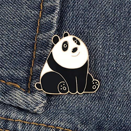 ZSCZQ Cartoon Tier Emaille Pins Nette Happy Panda Broschen Kreative Lustige Schöne Metallschmuck Geschenk Für Kinder Shirt Bag Revers Abzeichen Panda