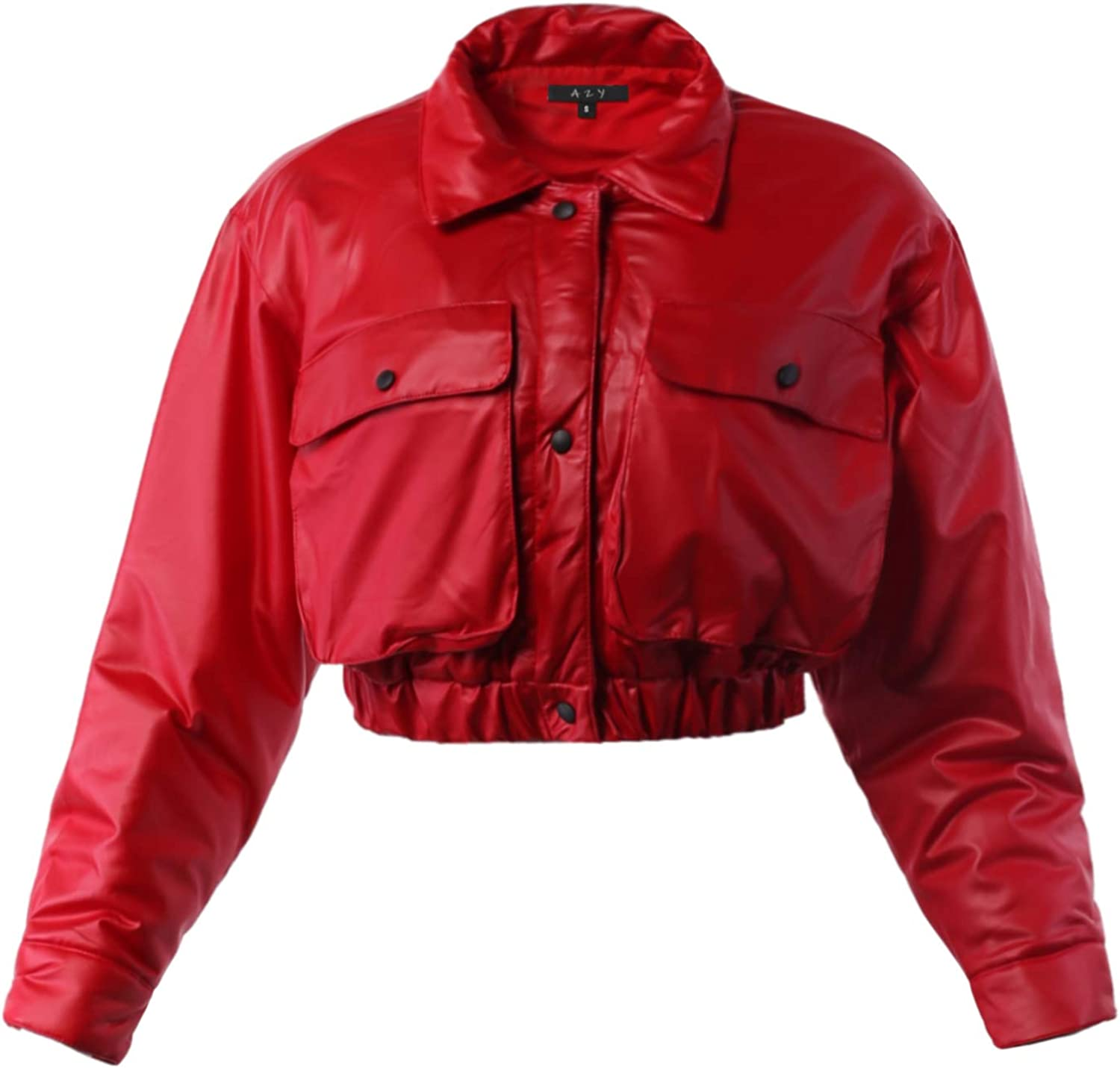 A2Y Women's Cropped Front Two Pocket Snap Quilted Padding Bomber Jacket