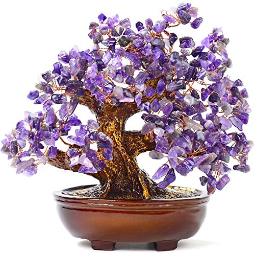 KALIFANO Natural Amethyst (360 Gemstone Count) Chakra Crystal Tree - Bonsai Feng Shui Money Tree for Positive Energy, Luck and Wealth - 8'